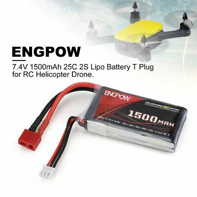 ENGPOW 7.4V 1500mAh 25C 2S 1P Lipo Batterie T Stecker für RC Helicopter Drone A