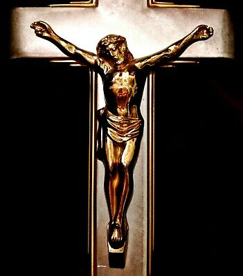 Beautiful Large Heavy Two Tone Metal Wall Hanging Crucifix 3D Jesus Altar Decor