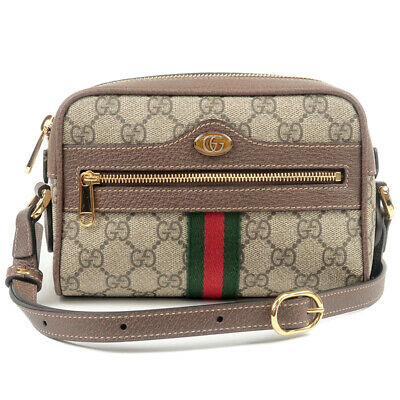 b3a71bb06892d3 Authentic GUCCI Ophidia GG Supreme Mini Shoulder Bag Brown 517350 Used F/S