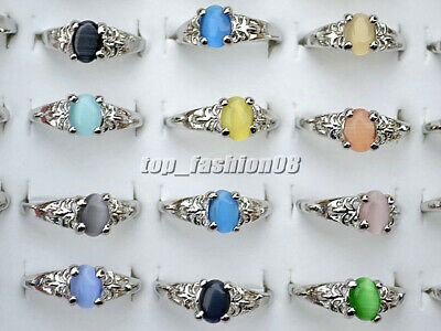 FREE Wholesale Lots 50Pcs Colourful Natural Cat Eye Gemstone Silver Plated Rings