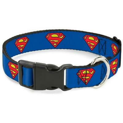 "Plastic Clip Dog Collar 1"" Wide - Superman"
