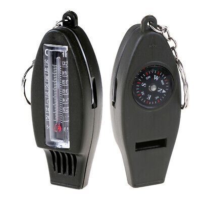4 In 1 Outdoor Survival Whistle Compass Magnifying Thermometer & Keychain EDC ^S