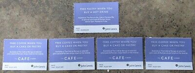 5 x John Lewis Pastry Cake and Coffee Voucher Coupons