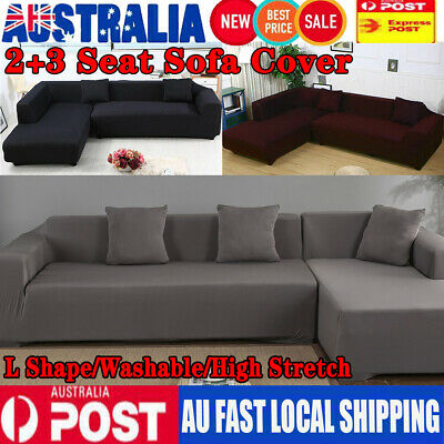 Stretch Elastic Couch Sofa L Shape Lounge Covers 3+2 Seater Cover Slipcover AU