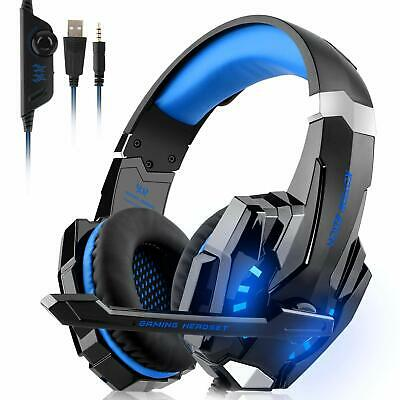 EACH 3.5mm G9000 Gaming Headset MIC LED Headphones For PC Laptop PS4 Xbox One