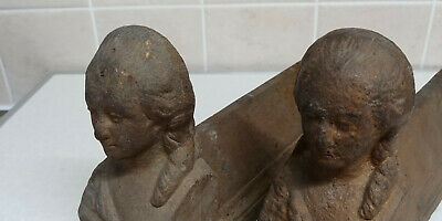 Antique Pair Of French, Cast Iron, Figural Fire Dogs