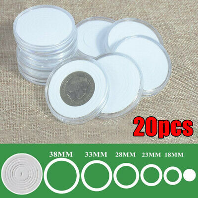 20X Round Coin Box Holders Collection Storage Capsules Kit For 18 23 28 33 38mm