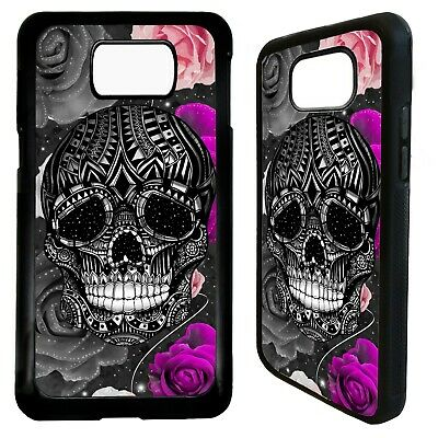 Skull flower rose tattoo case cover for Samsung Galaxy S7 S8 S9 s10 s10e plus