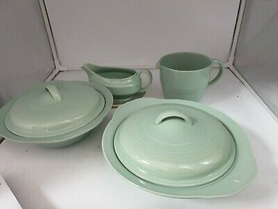 Pair of 2 Woods Ware Beryl Green Vegetable Tureens &jug & gravy boat