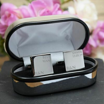 Silver Personalised Best Man Initial Wedding Cufflinks Custom Engraved, SQUARE