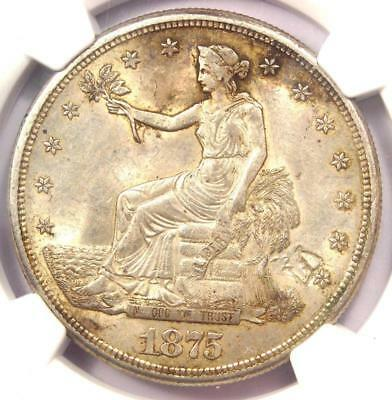1875-S Trade Silver Dollar T$1 - NGC Uncirculated Details Chop Mark (UNC MS)!