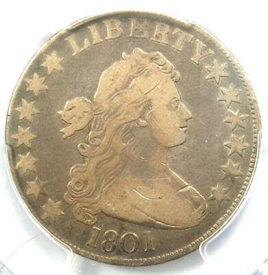 1801 Draped Bust Half Dollar 50C - PCGS Fine Details - Rare Date Coin!