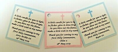 HOLY COMMUNION CANDLE FAVOURS GUEST LABELS ** TAGS  - Baptism / Christening