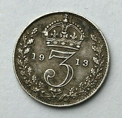 Dated : 1913 - Silver Coin - Threepence - 3d - King George V - Great Britain