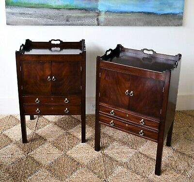 A Pair Georgian George III Style Mahogany Tray Top Bed Side Cabinet Lamp Tables