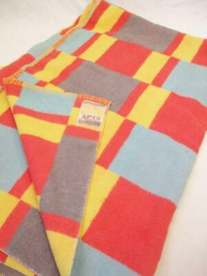 Vintage 1960's Apis Blanket Mid-Century Funky Red Yellow Blue Check Atomic