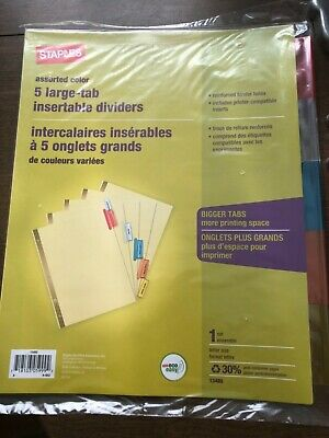 Staples 8 Large Tab Insertable Dividers Big Bigger Color Tabs 13487 AVE11111