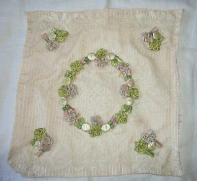 Vintage Hand Made Ribbonwork Panel~50 Ribbon Flowers~Buds~Pillow~Quilt Block