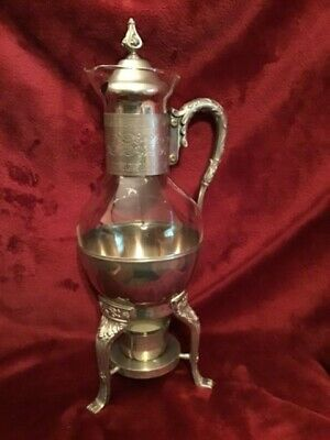 Vintage Coffee/Tea Glass Carafe Server & Silver Plated Stand/ Warmer