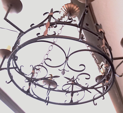 Antique French Gothic Iron Fleur de lis Chandelier from Boca Raton Cloister Inn