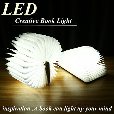 USB Rechargeable LED Booklight Wooden Book Shape Desk Lamp Night Light Foldable