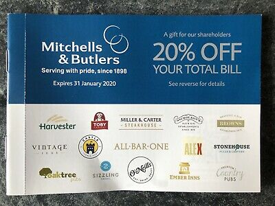 20% off Food & Drink Voucher at Mitchells & Butlers, Miller & Carter, Toby etc