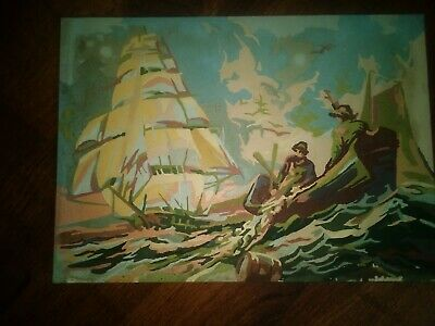1950-60 Vintage Paint By Numbers Sailboat Nautical Sea Ship Maritime Scene 10x13