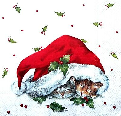 4 Lunch Paper Napkins for Decoupage Party Table Craft Vintage Christmas Cat, Red