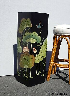 Vintage Oriental Asian Pedestal Floral Plant Stand Side Table Black Lacquer
