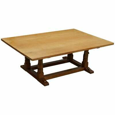 Rare Classic Vintage Robert Mouseman Thompson Solid Oak Refectory Dining Table