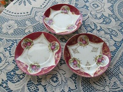 Vintage Royal Sealy China Japan 3 Magenta Roses Saucers Victorian Figures  5 1/2