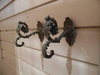 PR GENUINE ANTIQUE FRENCH BRASS CHATEAU CURTAIN TIE BACK/HOOKS Late 1800's
