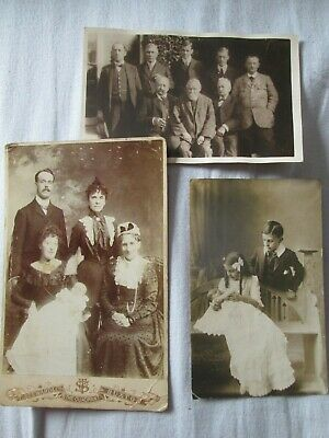 SMALL COLLECTION OF 3 GENUINE LATE 19th/EARLY 20thC GROUP/PORTRAIT PHOTOS (good)
