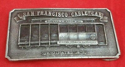 Vintage Brass Belt Buckle San Francisco Cable Car Powell & Mason Sts 1976.    W4