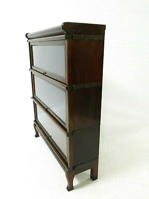 Antique Globe Wernicke 3 tier modular stacking barristers bookcase #2378L