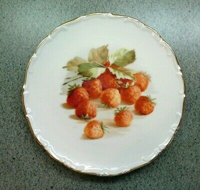Vintage Bavarian GOLDEN CROWN E&R DECORATIVE STRAWBERRY PLATE, Germany