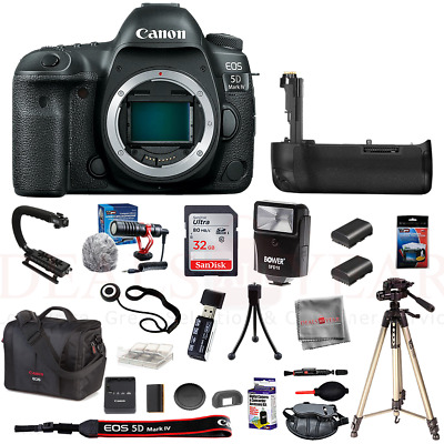 Canon EOS 5D Mark IV Camera Pro Starter Bundle 32GB Mic Tripod Battery Grip Kit