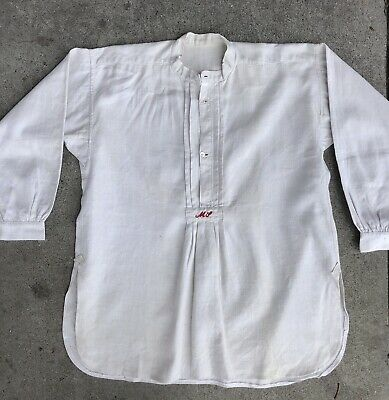 Vintage Turn Of The Century French Homespun / Linen -  Peasant Top - Antique
