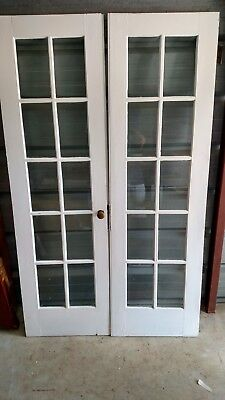 4 ft Vintage French Doors Wood 10 PANE BEVELLED GLASS   WE SHIP!!!!!!!!!!!
