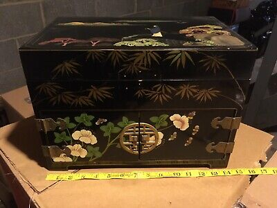 Vintage Black Lacquer Oriental Japanese Asian Jewelry Box