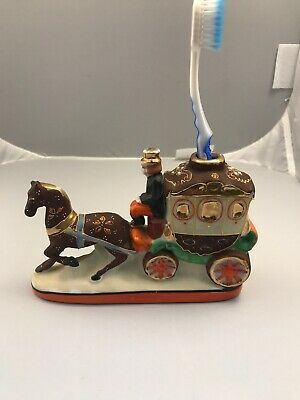 Vintage Hand Painted TOOTHBRUSH HOLDER Horse And Carriage . japan