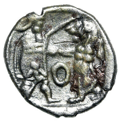 """HIGH QUALITY Greek Silver Coin """"King Slaying Lion"""" Sidon Phoenicia CERTIFIED VF"""