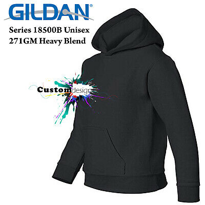 Gildan Black Hoodie Heavy Blend Blank Plain Hooded Sweater Boy Girl Youth Kids
