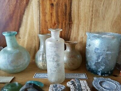 ***ANCIENT ROMAN GLASS BOTTLE FROM UK & Roman Mirror Fragment from Nis***