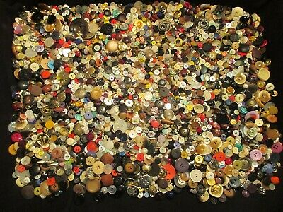 10 Lb. Mixed Lot of Vintage and Modern Buttons for Sewing, Crafts, Etc.