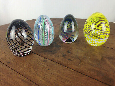 Vintage Egg Shaped Lot of 4 Art Glass Paperweights #WH-16