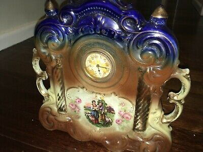 ANTIQUE VINTAGE PORCELAIN CHINA CERAMIC MANTLE CLOCK - MADE IN ENGLAND hallmark