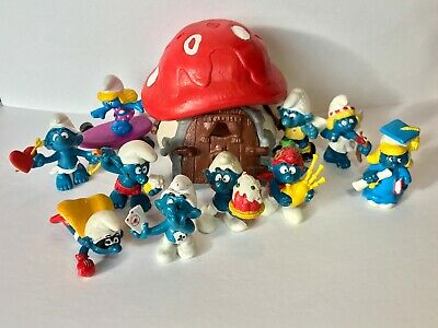 Smurfs Figures Lot Of 10 with Mushroom House - 1980s Vintage PVC toy figures