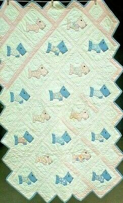 Antique Vintage 1930S/40S Super-Sweet Baby Child Scotty Dog Applique Quilt Wow!