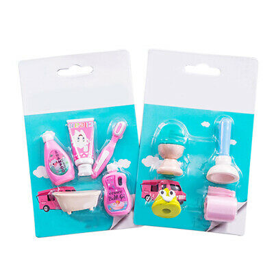 8PCS Cute Toilet Erasers Rubber Pencil Erasers Kid School Student Stationery Set